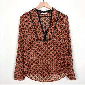 Hazel | Red Abstract Print Lace Detailed Blouse S